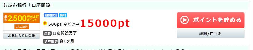 じぶん銀行の口座開設で1500円