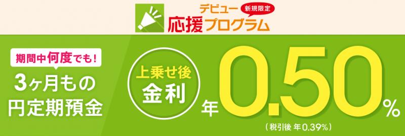 デビュー応援プログラム(3ヶ月もの円定期預金)
